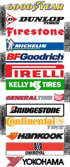 Tires Goodyear, Dunlop, Firestone, Michelin, BF Goodrich, Pirelli, Kelly, General, Bridgestone, Firestone, Continental, Hankook, Uniroyal, Yokohama